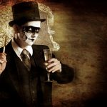 Steampunk Harlequin drinking Champagne