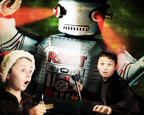Rocketboy and Gears Missle-toe case Matt McKee Christmas Card
