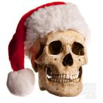 The Skull of an Elf wearing a Santa Hat
