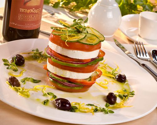 Mozerella, tomatoes, basil, a little olive oil.