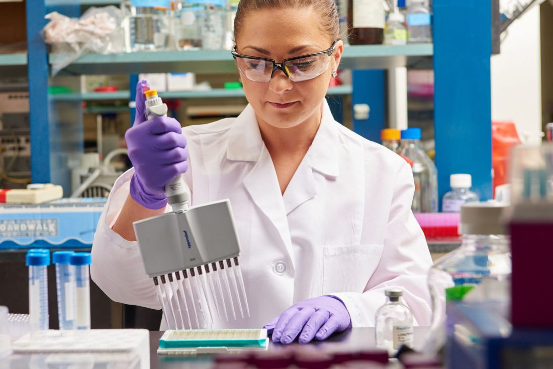 Boston Corporate photography of Lab Technician with Pipettes doing DNA research