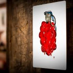 Cherry Bomb! hung on wood