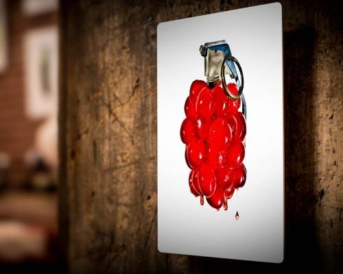 Cherry Bomb! hung on wood