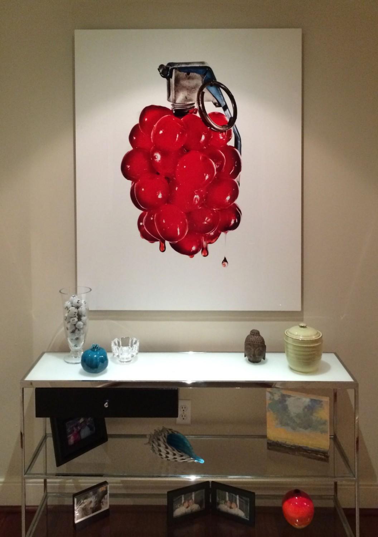 Matt McKee's Cherry Bomb! installed in art collector's home