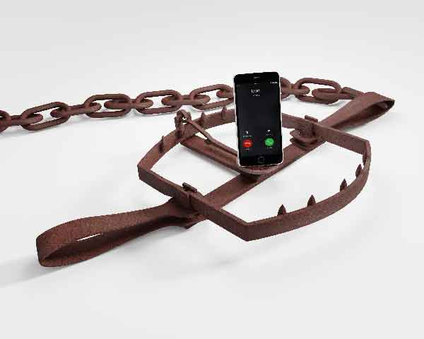 Distractions of mobile devices in a bear trap on white