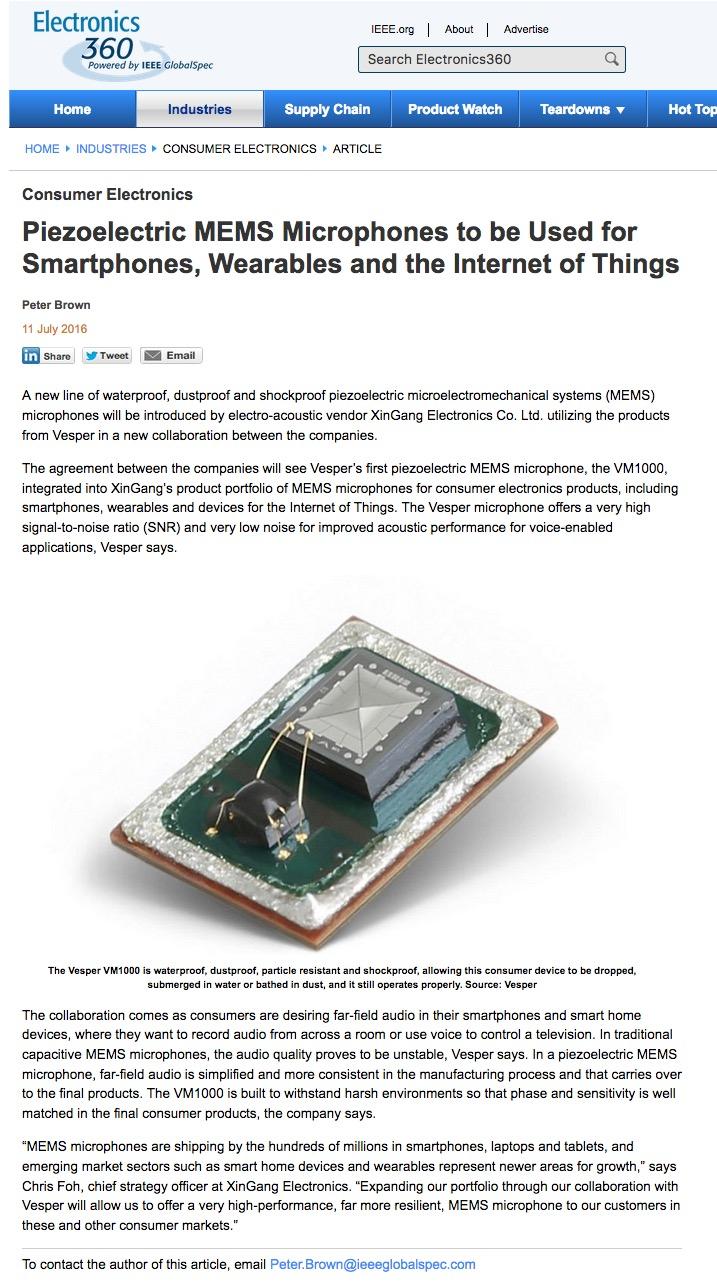 Vesper MEMS in Electronics 360