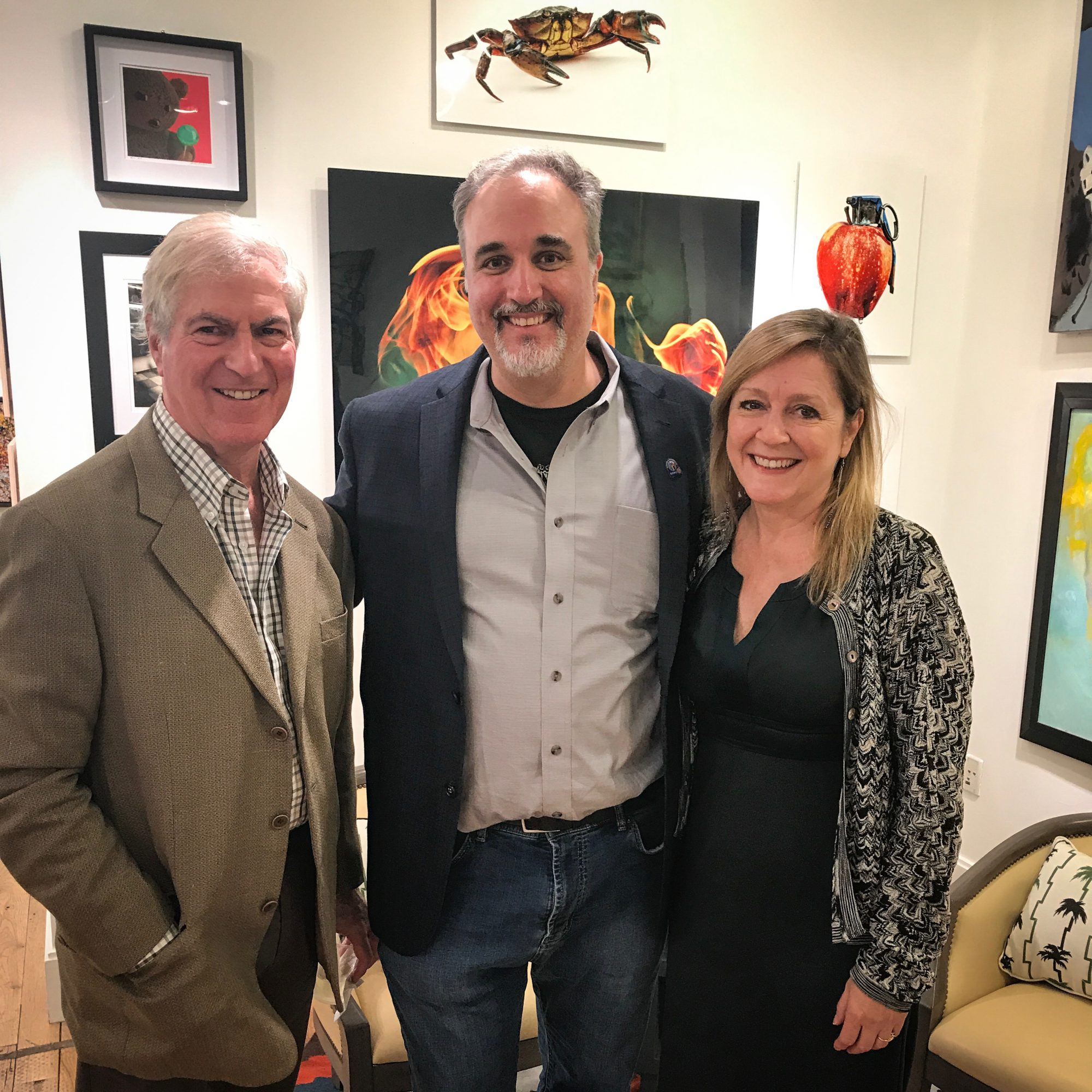 Me, in between, Tim Montgomery and Rita Fucillo, publishers of Art New England