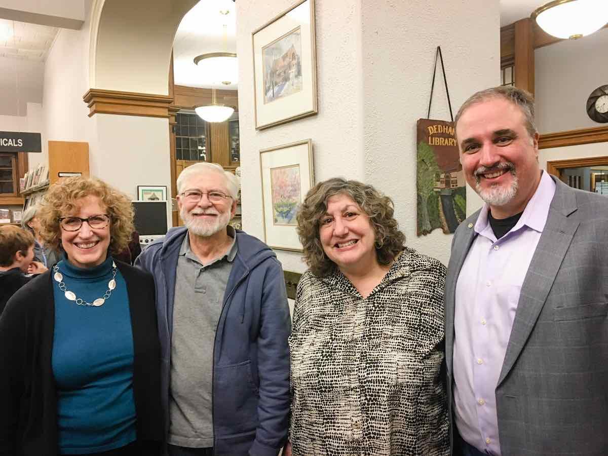 Dedham Portrait Project winners: Gretje Ferguson, Ralph Mercer, juror Paula Tognarelli and Matt McKee